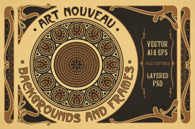 ART NOUVEAU BACKGROUNDS AND FRAMES
